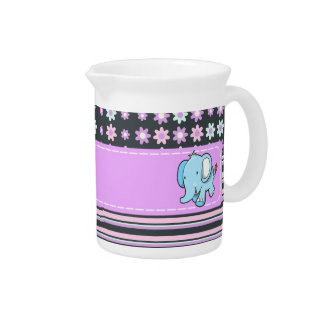 Cute Colorful Flowers Stripes Elephant Pitcher
