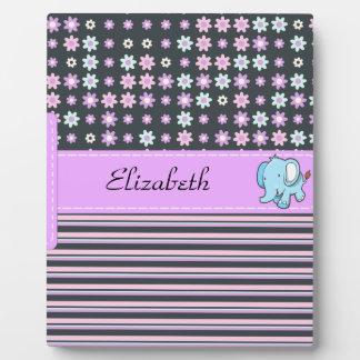 Cute Colorful Flowers Stripes Elephant Plaque