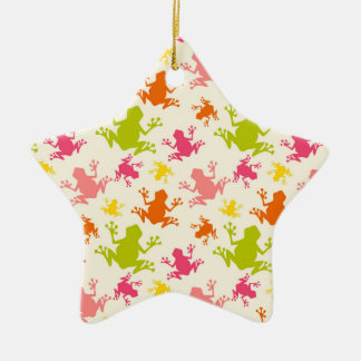 Cute Colorful Frogs Pattern Christmas Ornament