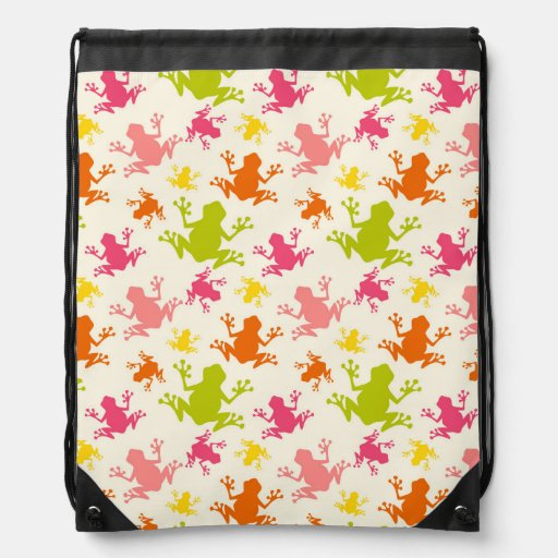 Cute Colorful Frogs Pattern Backpack