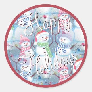 Cute Colorful Funny Winter Season Snowmen Pattern Round Sticker