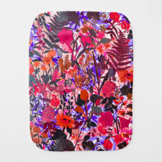Cute colorful girley vintage flowers mixed burp cloth