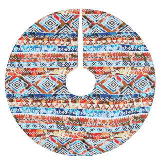 Cute colorful girly aztec patterns brushed polyester tree skirt