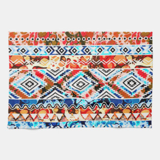 Cute colorful girly aztec patterns tea towel