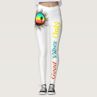 Cute Colorful Good Vibes Only Leggings