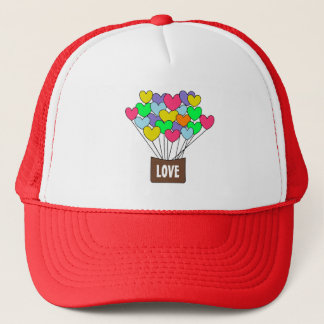 Cute Colorful Hearts LOVE Hot Air Balloon Trucker Hat