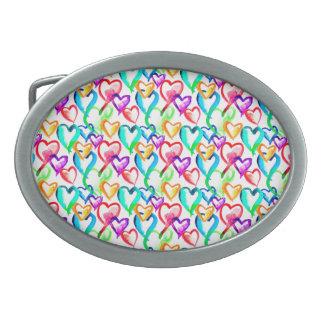 Cute colorful hearts pattern belt buckles