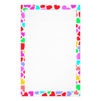 Cute colorful hearts patterns personalized stationery