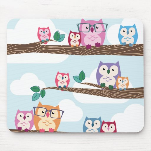 Cute Colorful Hipster Owls on Branches Mousepad