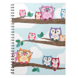 Cute Colorful Hipster Owls on Branches Notebook