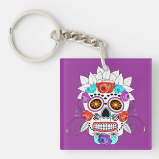 Cute Colorful Hipster Sugar Skull and Roses Key Ring