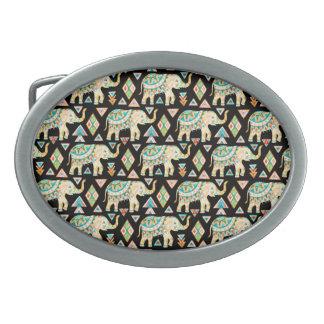 Cute colorful indian elephants pattern oval belt buckle