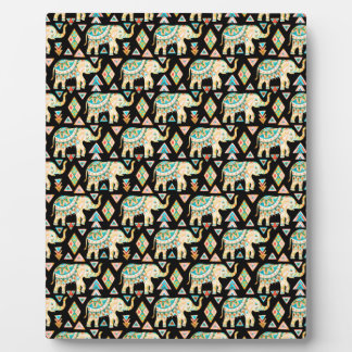 Cute colorful indian elephants pattern plaque