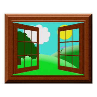 Cute Colorful Kids Cartoon Window View Poster
