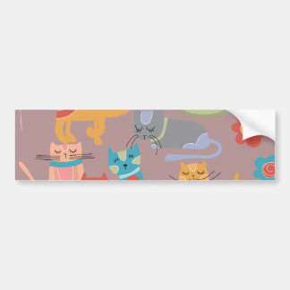 Cute Colorful Kitty Cats Gifts for Cat Lovers Pink Bumper Stickers