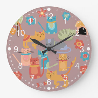 Cute Colorful Kitty Cats Gifts for Cat Lovers Pink Large Clock