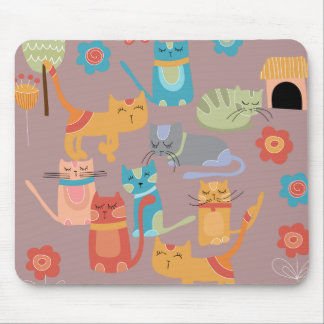 Cute Colorful Kitty Cats Gifts for Cat Lovers Pink Mouse Mat