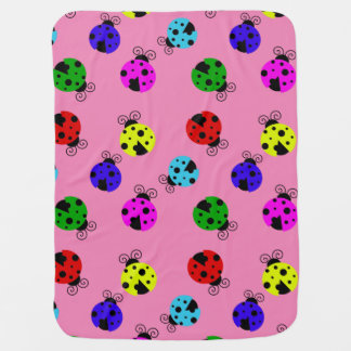 Cute Colorful Ladybugs Pattern Baby Blanket