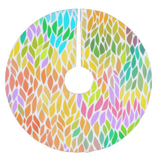 Cute colorful leaves pattern brushed polyester tree skirt