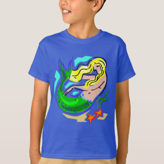 Cute Colorful Mermaid Dreams on Blue T-Shirt