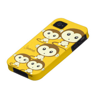Cute Colorful Monkeys Change Yellow to any Color iPhone 4 Cover