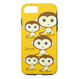 Cute Colorful Monkeys Change Yellow to any Color iPhone 7 Case