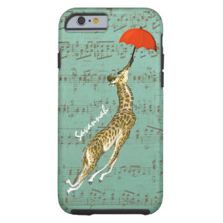 Cute Colorful Musical Flying Giraffe Red Umbrella Tough iPhone 6 Case