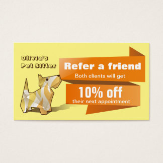 Cute Colorful Origami Dog Referral Card