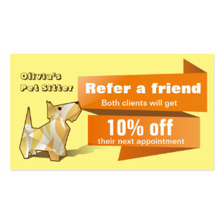 Cute Colorful Origami Dog Referral Card Pack Of Standard Business Cards