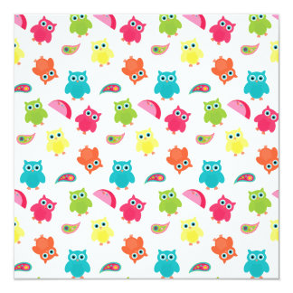 Cute Colorful Owl and Paisley Pattern Design 13 Cm X 13 Cm Square Invitation Card