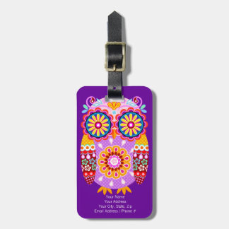 Cute Colorful Owl Luggage Tag - Customize it!