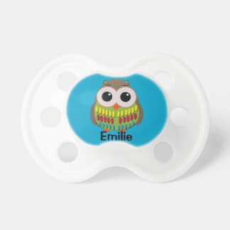 Cute Colorful Owl on Blue Personalized Pacifier