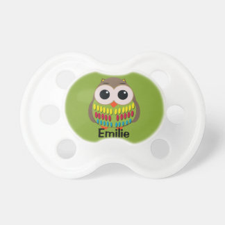 Cute Colorful Owl on Green Personalized Pacifier