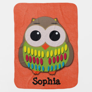 Cute Colorful Owl on Orange Personalized Blanket Pramblanket