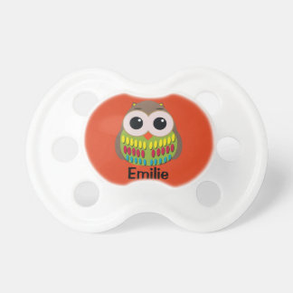 Cute Colorful Owl on Orange Personalized Pacifier