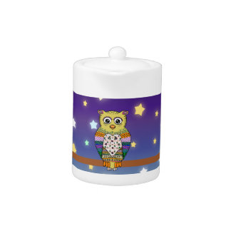 Cute Colorful Owl on star lit night