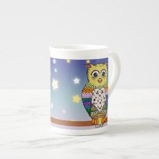 Cute Colorful Owl on star lit night Bone China Mug