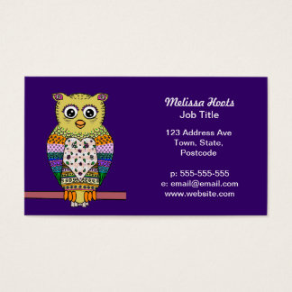 Cute Colorful Owl on star lit night Business Card