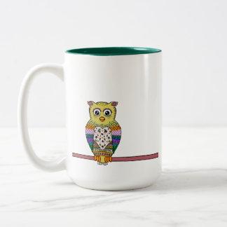 Cute Colorful Owl on star lit night Coffee Mugs