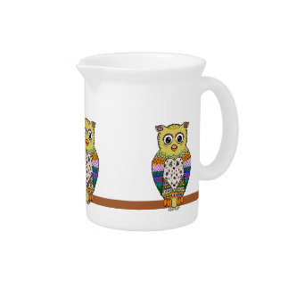 Cute Colorful Owl on star lit night Pitcher