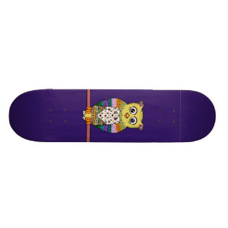Cute Colorful Owl on star lit night Skateboard Deck