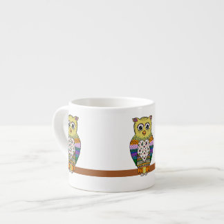 Cute Colorful Owl on star lit night Espresso Cup