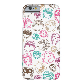 Cute colorful owl pattern in pink and blue barely there iPhone 6 case