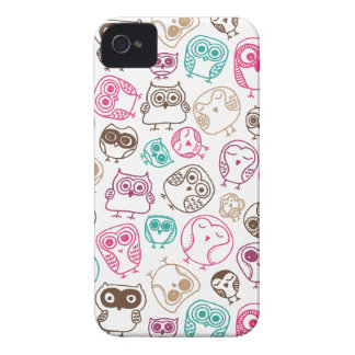 Cute colorful owl pattern in pink and blue Case-Mate iPhone 4 cases