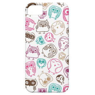Cute colorful owl pattern in pink and blue iPhone 5 cover