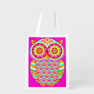 Cute Colorful Owl Reusable Bag - Retro Owl Art!
