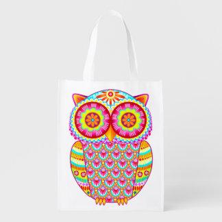Cute Colorful Owl Reusable Bag - Retro Owl Art!
