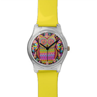 Cute Colorful Owl Watch - Groovy Owl Wristwatch