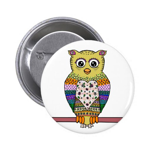 Cute Colorful Owl - white Pinback Buttons