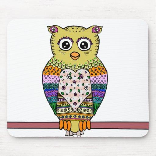 Cute Colorful Owl - white Mousepad
